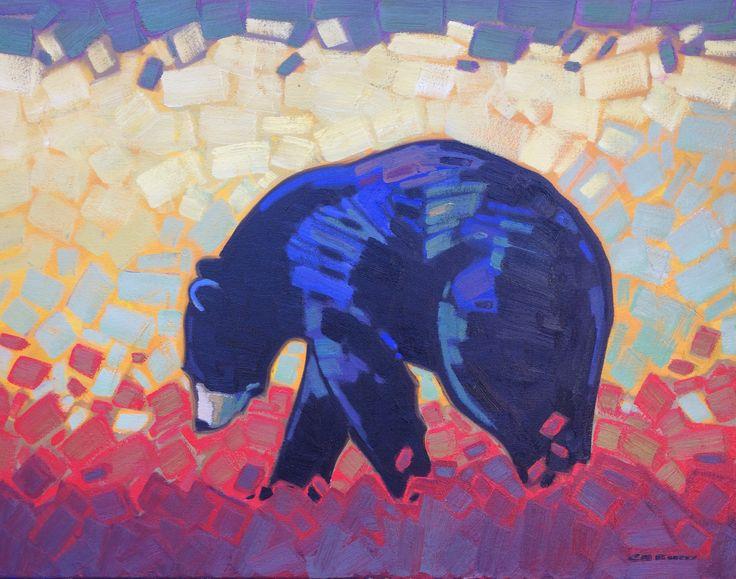 Morning Light - Black Bear by Cameron Bird #oiloncanvas #adelecampbellgallery