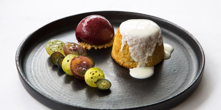 Paul Welburn's gooseberry pudding recipe is perfect for summer, served with fruity sorbet and creamy yoghurt.