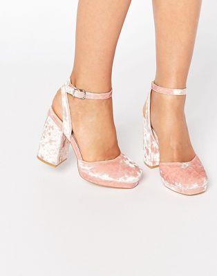 Бархатные туфли на высоком каблуке ASOS PUTNEY