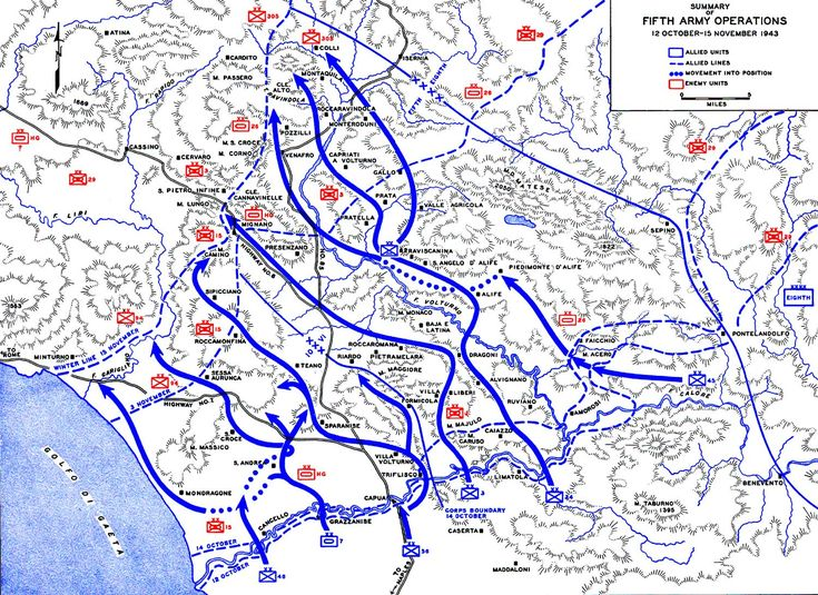 Map Map Showing US Th Army Advances In Italy Oct Nov - Us ww2 map