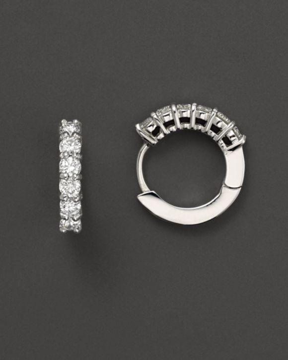 Roberto Coin 18 Kt. White Gold/Diamond Small Diamond Hoop Earrings, 15 mm | Bloomingdales's