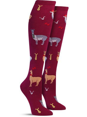 Take your obsession with these unique looking animals to the next level by slipping on a colorful knee high pair of socks covered in them. Not only do these llamas come in many different colors, all w