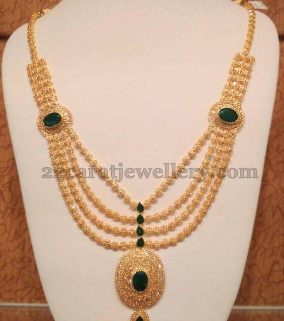 Cz Polki Steps Long Chain Indian Diamond Wedding