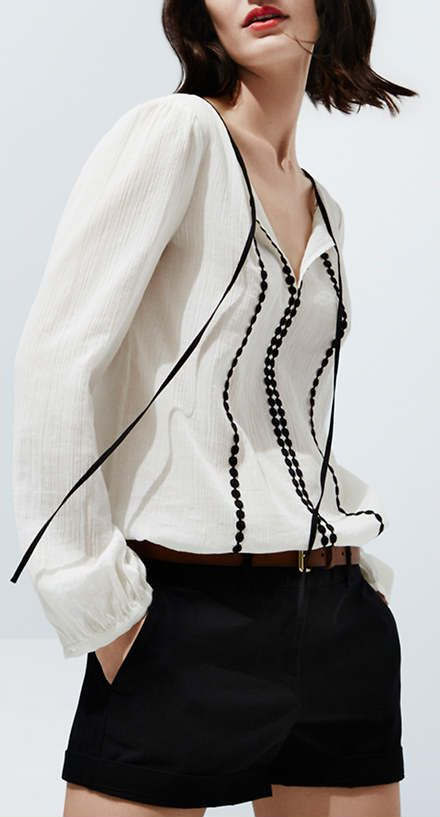 Embroidered tie neck blouse and black shorts | Ann Taylor Loft. Nice black and white.