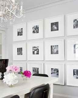 """Photo gallery for dining room. Use Ribba frames from IKEA (9.75"""" square $10, 19.75"""" square $20)."""
