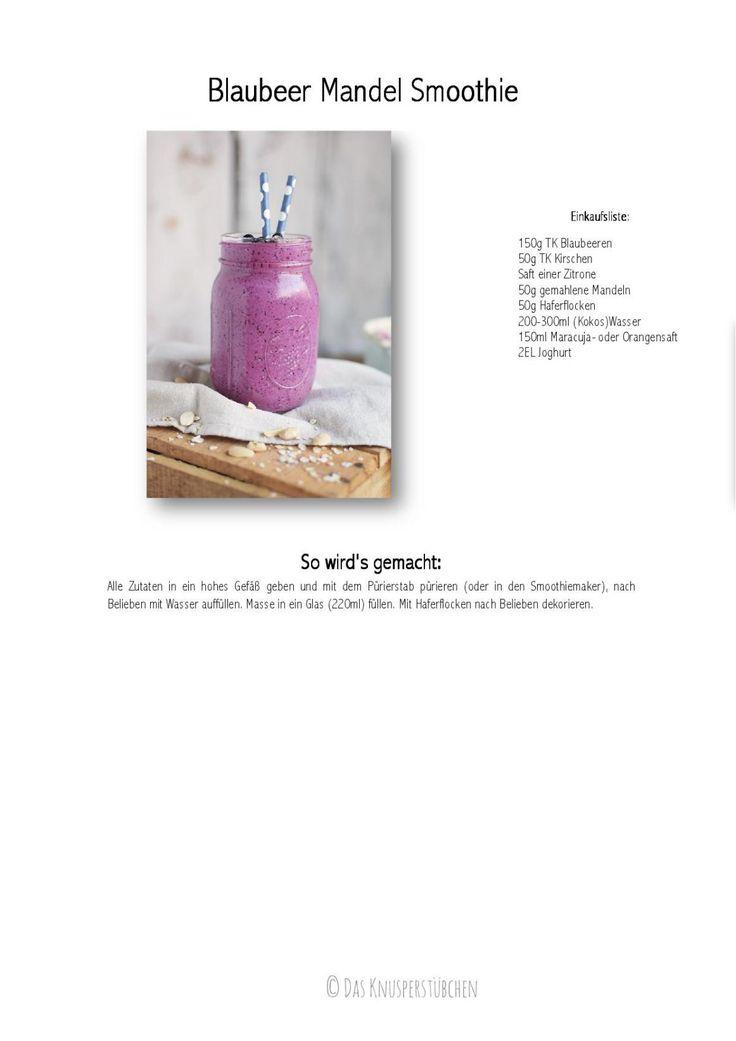 Blaubeer Mandel Smoothie - Blueberry Almond Breakfast Smoothie | Das Knusperstübchen