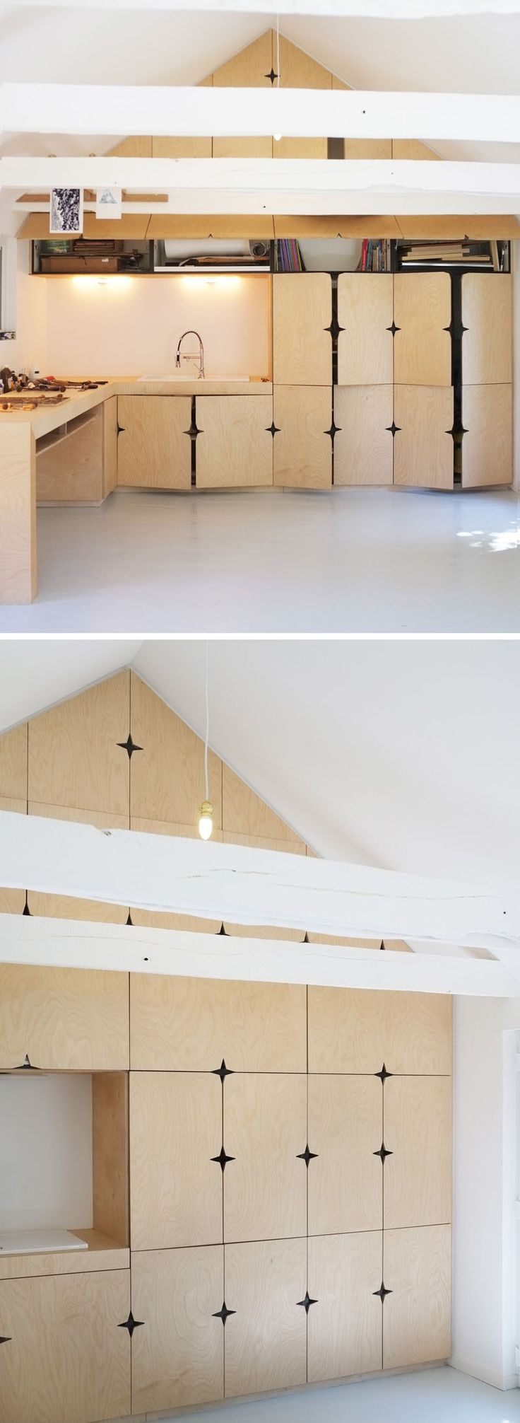5 Ideas For Unconventional Cabinet Door Designs // These doors have cut outs, rather than door pulls, designed so that when the doors are closed stars appear where they meet.