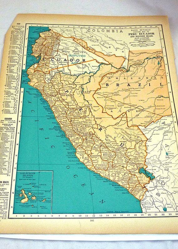 Vintage 1937 Maps of Ecuador / Peru / Paraguay/