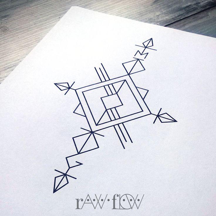 Compass arrow geometric minimalist linework