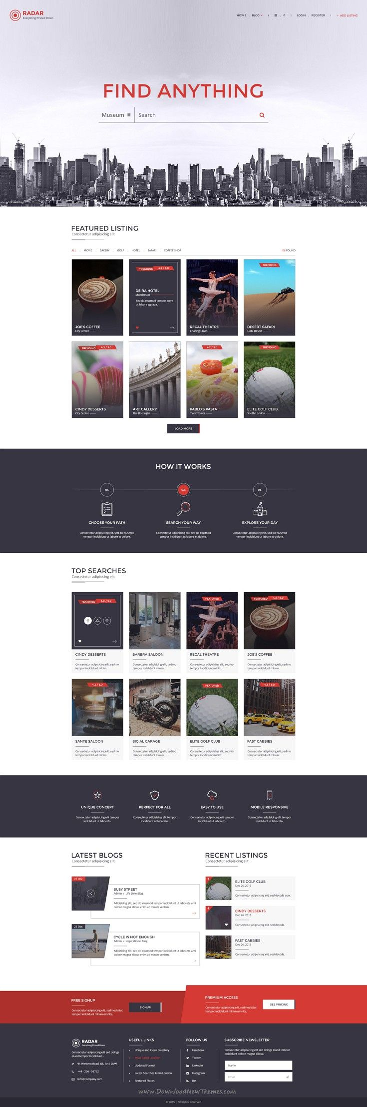 Radar is a multipurpose directory PSD template with great features and design elements required by any #directory #website. It has 2 different design layouts.
