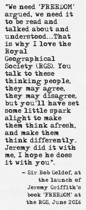 #FREEDOM #BookReview #BookLaunch #JeremyGriffith #SirBobGeldof #BobGeldof #Geldof #RGS