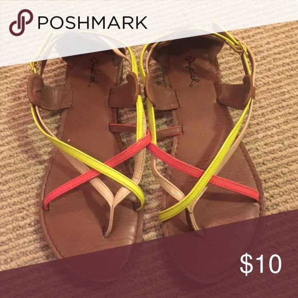 Neon sandals Strapped neon sandals Forever 21 Shoes Sandals