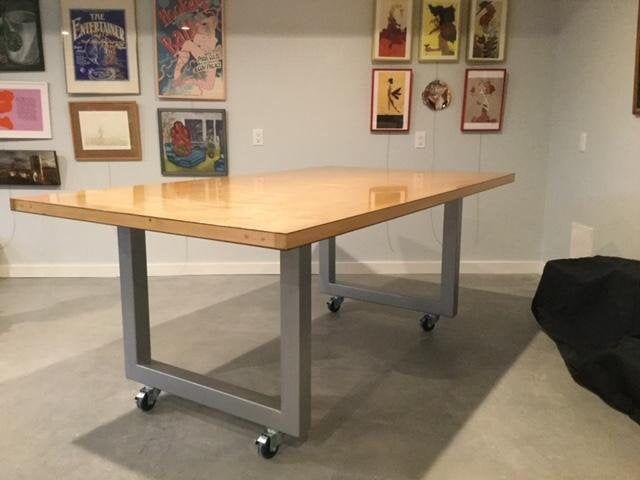 Metal Table Legs Casters Custom Sizes Industrial Etsy Metal Table Legs Metal Table Steel Table Legs