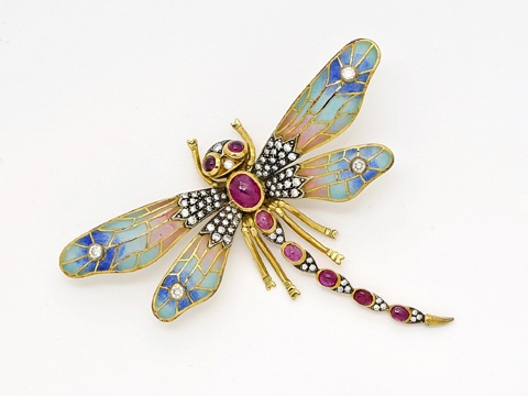 An Enamel, Diamond and Ruby Dragonfly Brooch