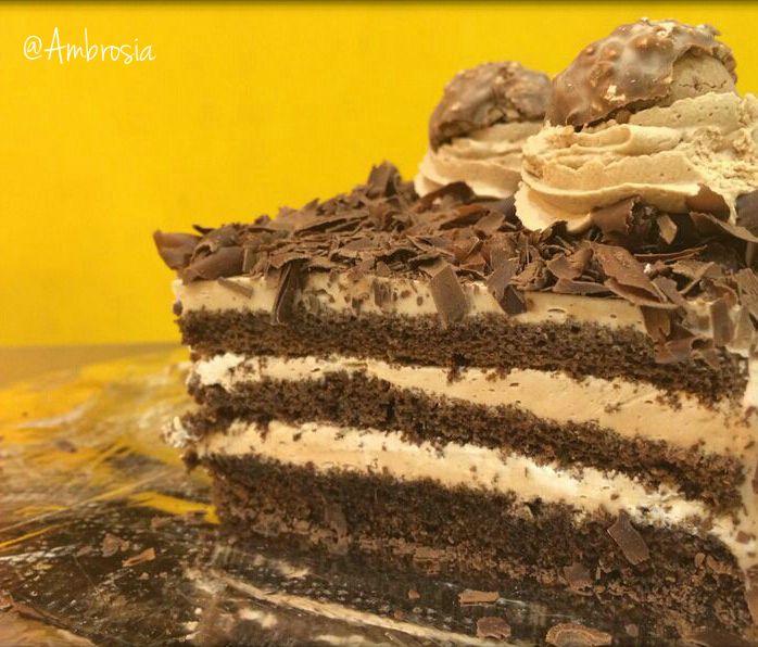Ferrero Rocher cake - when our favourite chocolate meets our favourite cake : )  #FerreroRocher #ClassicCakes #Pastries #FoodLove #Ambrosia