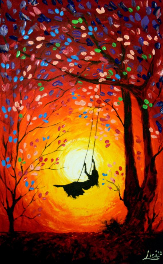 Original abstrakte Malerei Swing Acryl von ArtonlineGallery