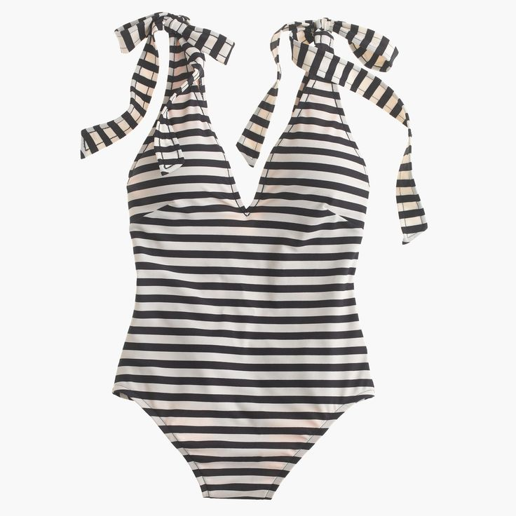 Shoulder-tie one-piece swimsuit in classic stripe