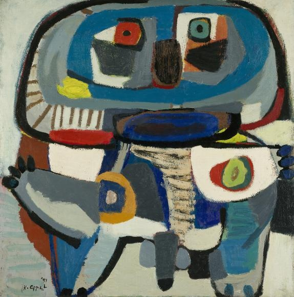Karel Appel - De vierkante man,1951, oil on canvas, 120.5cm × 118cm