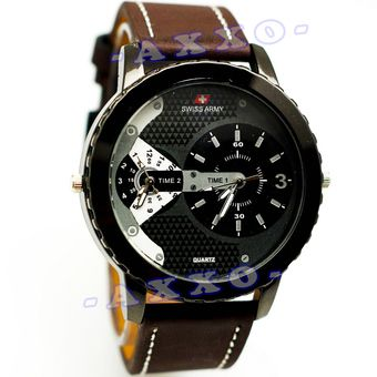 Belanja Swiss Army Dual Time - Jam Tangan Pria - Strap Kulit - Coklat Tua Variasi Putih - SA 0047 Murah - Belanja di Lazada. FREE ONGKIR & Bisa COD.