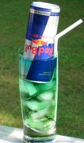 Irish Trash Can: .5 oz. Light Rum .5 oz. Gin, .5 oz. Vodka, .5 oz Triple Sec, .5 oz. Peach Schnapps, .5 oz. Blue Curacao, (1) 8 oz. can of Red Bull