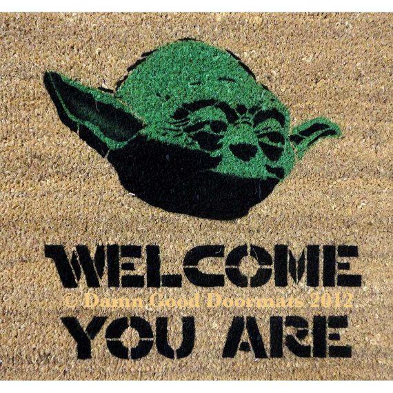 Star Wars -Yoda door mat -welcome you are mat - geekery fan art. $50.00, via Etsy.