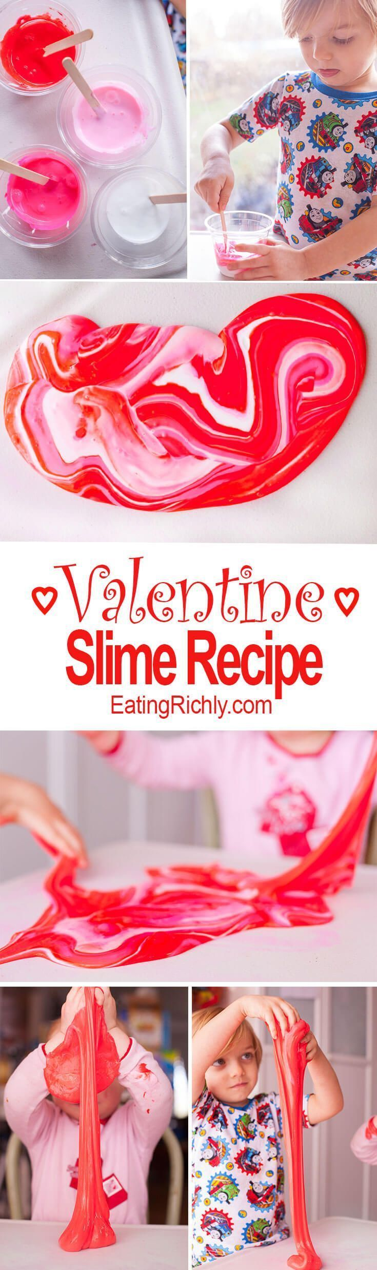 This quick and easy borax slime recipe makes a Valentine's Day activity that provides hours of entertainment. From http://EatingRichly.com