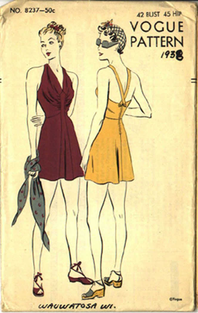 Vogue 8237 (1938) Bathing suit. Image via At the Pond, CoPA virtual exhibition.