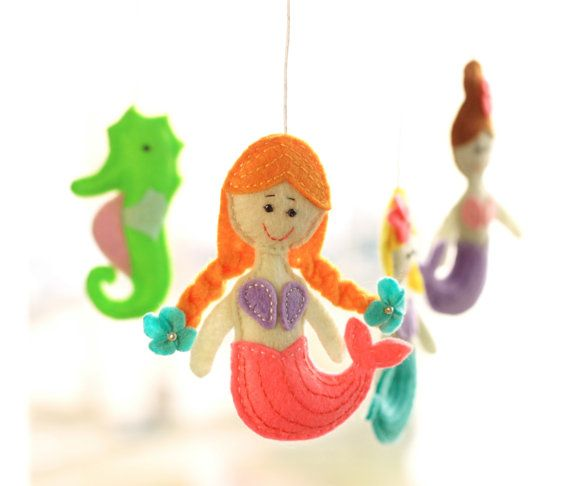 Mermaids crib mobile  baby nursery decor  by MiracleInspiration