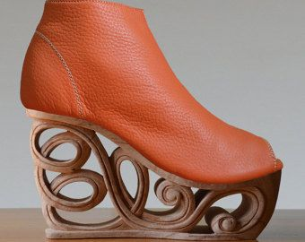 Gebissen  Hand geschnitzt Holz-Plattform Dragon Keilabsatz