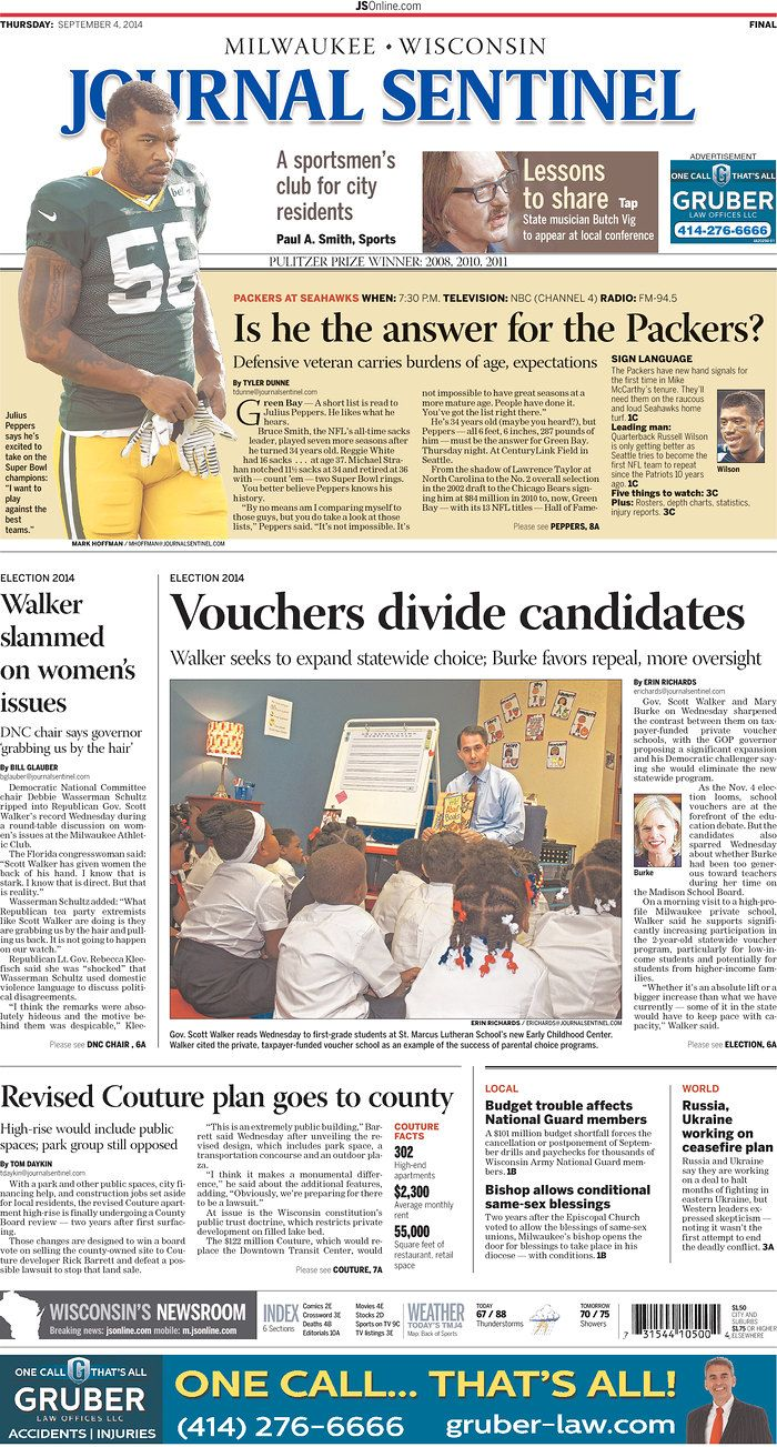 "In the Eye of the Outrage Hurricane, One Thing is Missing from Milwaukee-Wisconsin Newspaper's Frontpage - That's right -There's nothing on there about Wisc.Governor Scott Walker being smeared like he's a wife-beater by Chairwoman of the Dem Nat'l Comm.But there is a snazzy article about Scott Walker being ""slammed on women's issues."" The article does mention Wasserman Schultz's remarks, but omits her role from the headline. The tone of the article is almost laudatory."