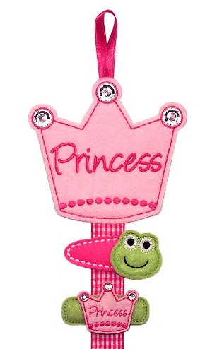 "Princess Crown Clippie Keeper: made with felt. ""Princess"" can be changed to a name if desired."
