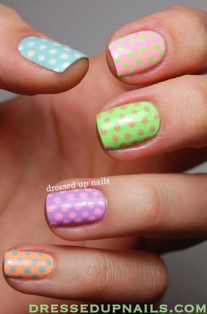 Pastel Polka Dots Nail Art