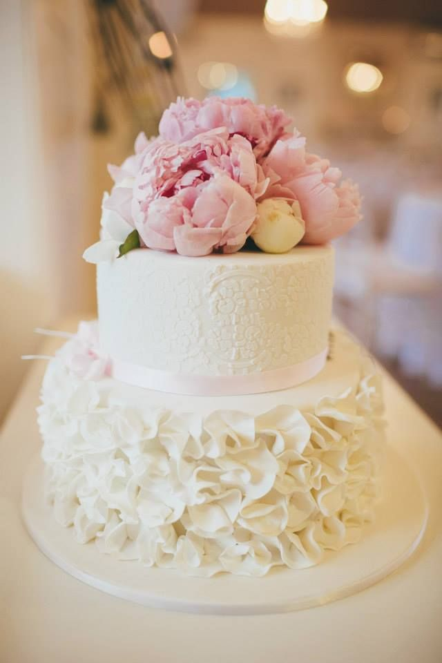 2 tier wedding cake with petal ruffles, lace stencil & fresh flower top! by Sunny Girl Cakes