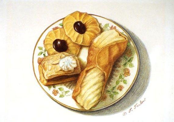 Italian Cannoli & Cookies Kitchen Art Print Food Art by PTarlowArt, $18.00