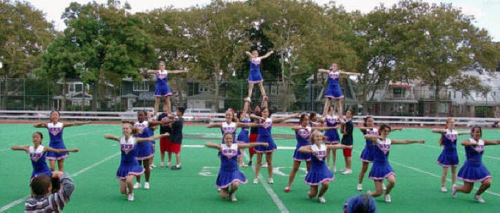 Stuyvesant High School cheerleaders at the 2004 Homecoming Football game. http://www.ourstrongband.org