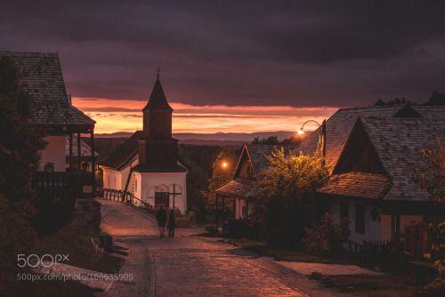 here comes the night again by laszlo_b  street evening Hollókő laszlo_b