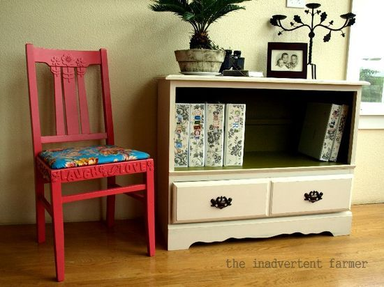 painted chair w/with foam letter/designs - upcycled dresser w/3 drawer into 1 drawer...love it