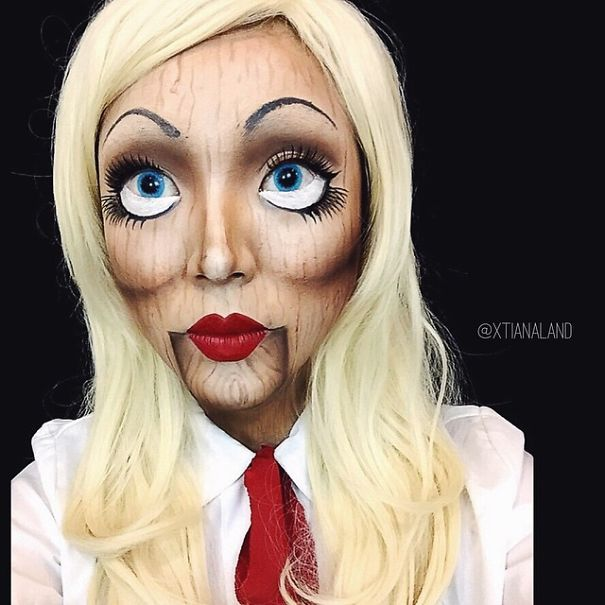 Not a tutorial  but love this make up. .. Wooden Doll Make Up
