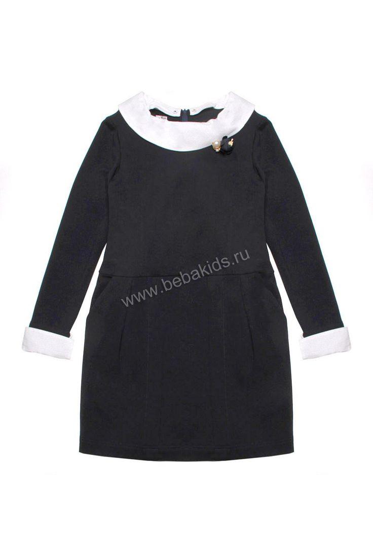 """Платье """"Белый воротник"""" для девочки 29526-082 чёрный Noble People"""