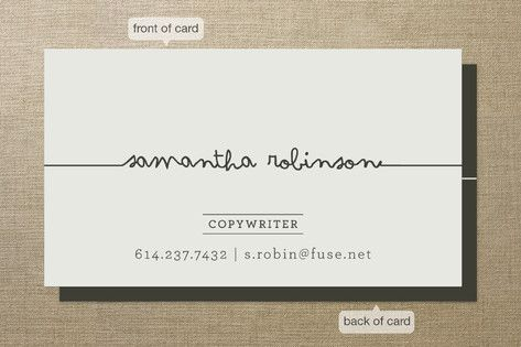 business card - copywriter | can be folded in half along the signature/name #branding #businesscard
