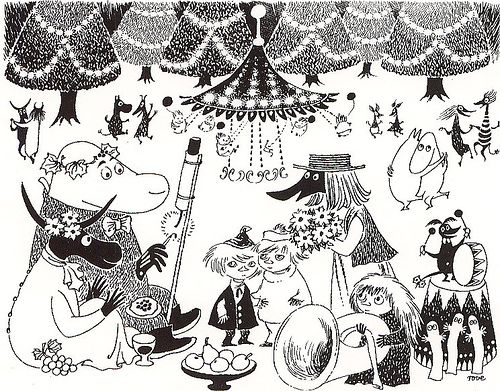 moomins b&w by -Puchita-, via Flickr