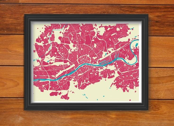 Kunstdruck Frankfurt Urban Cartography (Din A1)