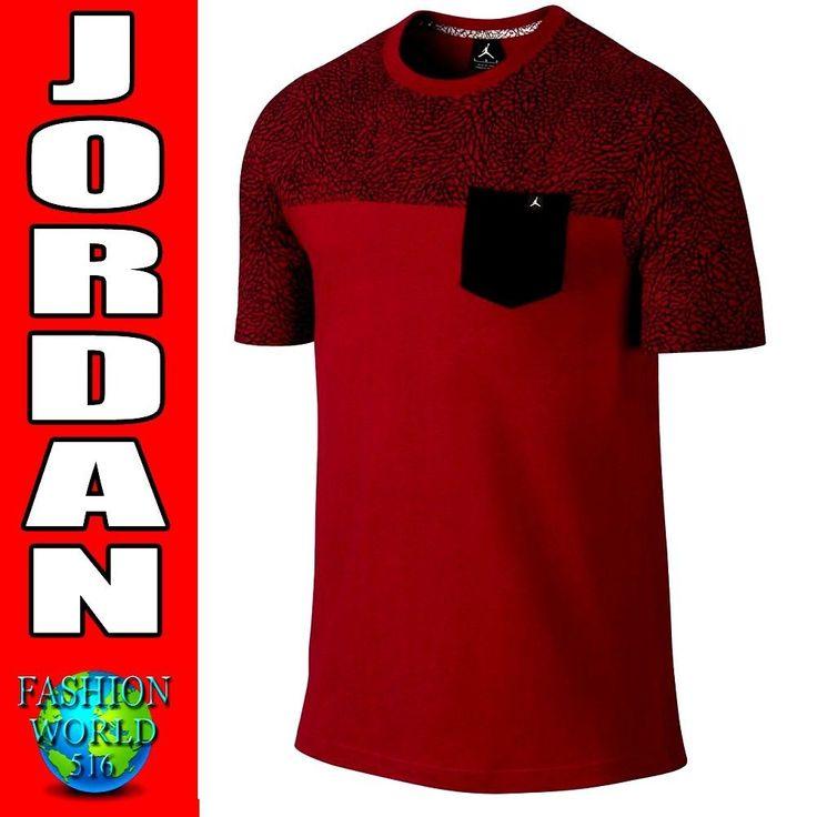 Nike Air Jordan Pocket Tee Men's 3XL Red/Black Elephant Print 679344 687  Retro #