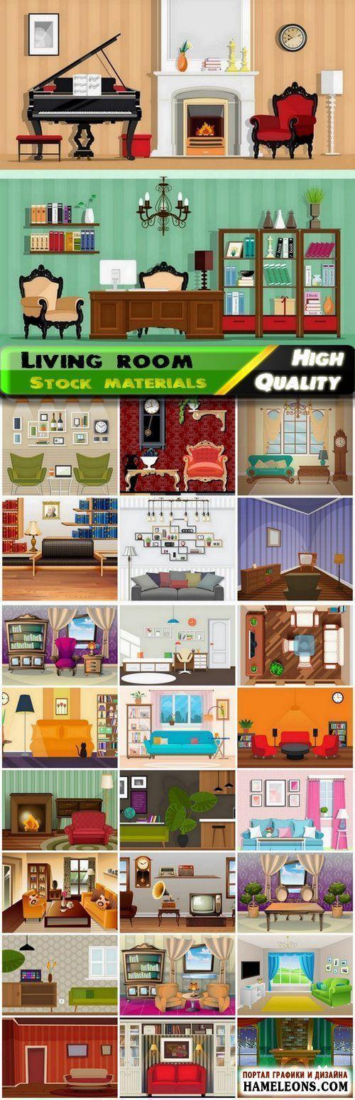 Уютные домашние интерьеры гостиной с мебелью и обстановкой - векторный клипарт | Flat home interior of living room with furniture and decor