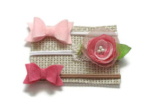 Nylon headband set baby bows felt bow hair clips Baby Headbands set  Newborn Headbands - Hair flower Baby Hair bow Kids bow Headband