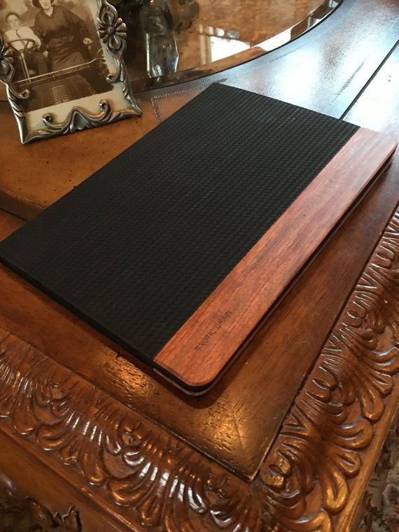"IPAD PR0 9.7"" CASE black herringbone  leather and american rosewood  accents"