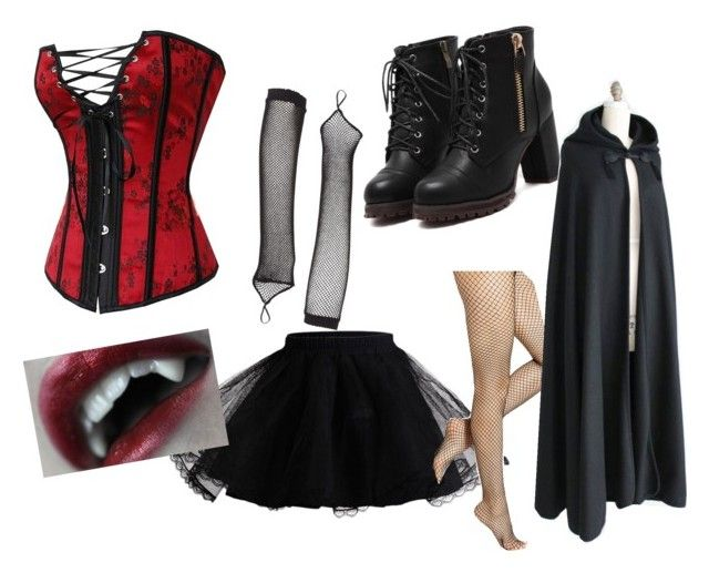 """Sexy Vampire Costume"" by takenoverbyinsanity ❤ liked on Polyvore featuring Hue and Leg Avenue"
