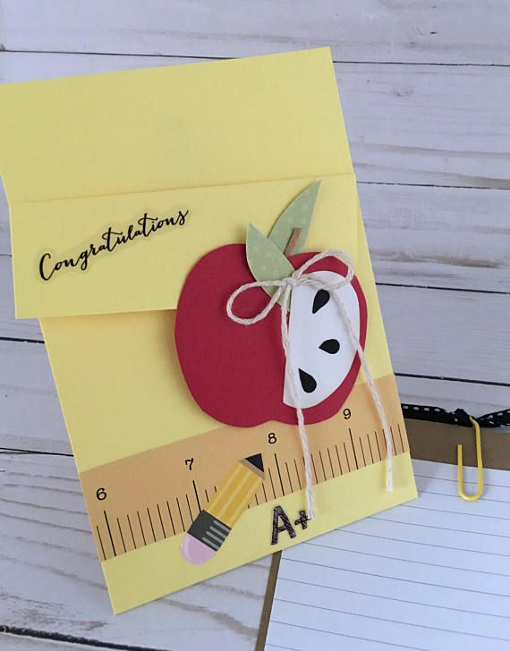 Teacher Thank you card - Apple card - Back to school teacher gift - A+ Teacher card - Pocket Gift Card Holder - Teacher Appreciation day - New school year teacher card This listing is for ONE Teacher Thank you card - in YOUR choice of design Card measures approx 4x6 Cards are made to