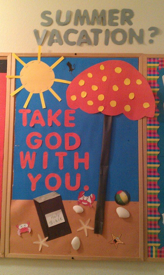 "Summer bulletin board idea!...Public School ""Take a book with you on Summer Vacation"""