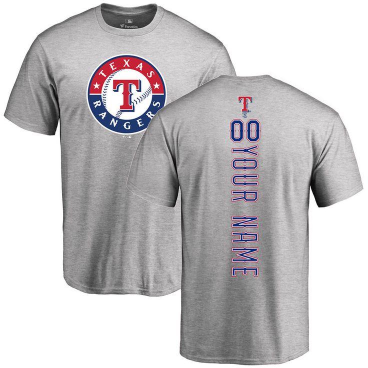 Texas Rangers Personalized Backer T-Shirt - Ash